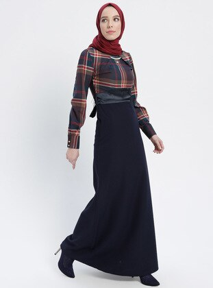 Navy Blue - Plaid - Crew neck - Unlined - Dresses