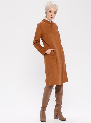 Tan - Unlined - Crew neck - Topcoat
