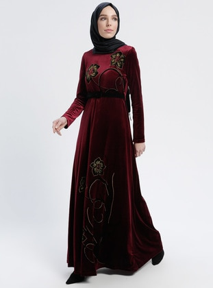 Maroon - Multi - Crew neck - Fully Lined - Dresses