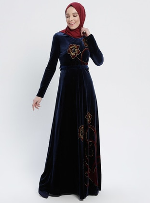 Navy Blue - Multi - Crew neck - Fully Lined - Dresses