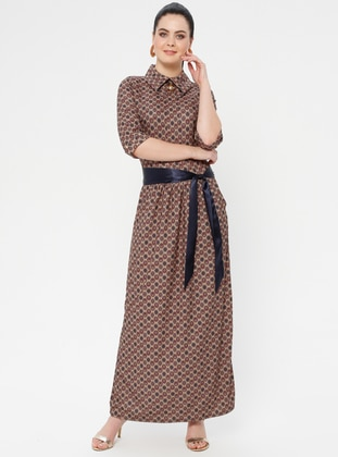 Khaki - Ethnic - Crew neck - Unlined - Dress