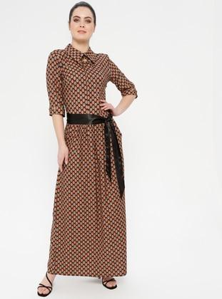 Mustard - Ethnic - Crew neck - Unlined - Dress