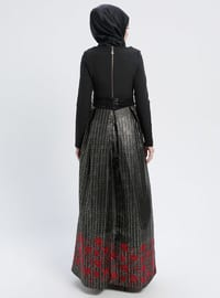 Red - Black - Multi - Fully Lined - Crew neck - Muslim Evening Dress