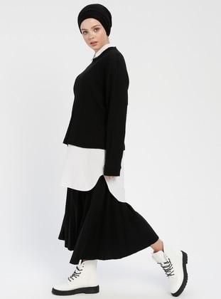 Cotton - Crew neck - Black - Sweat-shirt