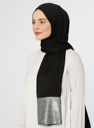 Black - Gray - Plain - Shawl -  Eşarp