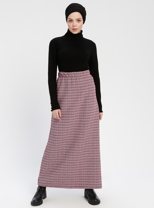 Pink - Plaid - Unlined - Skirt