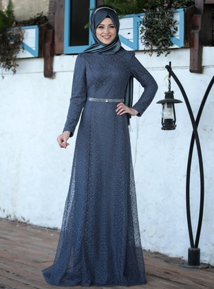 Anthracite - Plaid - Unlined - Crew neck - Muslim Evening Dress
