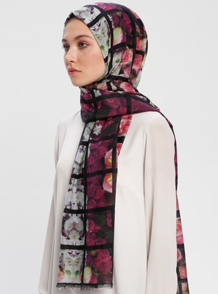 Black - Printed - Silk Blend - Cotton - Shawl -  Eşarp
