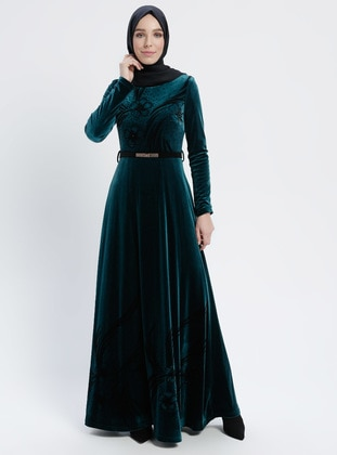 Green - Multi - Crew neck - Fully Lined - Dresses