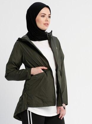 Khaki - Unlined - Crew neck - Trench Coat