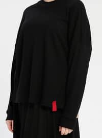 Cotton - Crew neck - Plaid - Multi - Black - Sweat-shirt