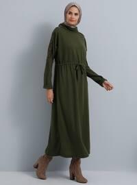 Khaki - Polo neck - Unlined - Dresses