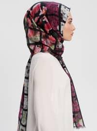 Black - Printed - Silk Blend - Cotton - Shawl