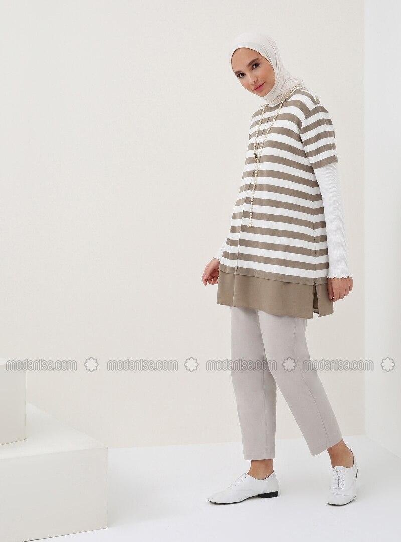 Gray - Beige - Pants
