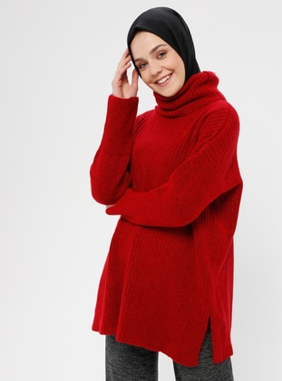 Red - Polo neck -  - Jumper - Loreen By Puane