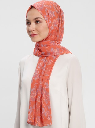 Orange - Printed - Shawl - Benatt