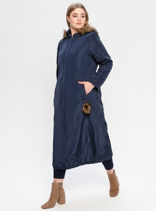Navy Blue - Fully Lined - Plus Size Overcoat - Hanımsa