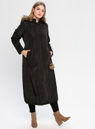 Black - Fully Lined - Plus Size Overcoat - Hanımsa