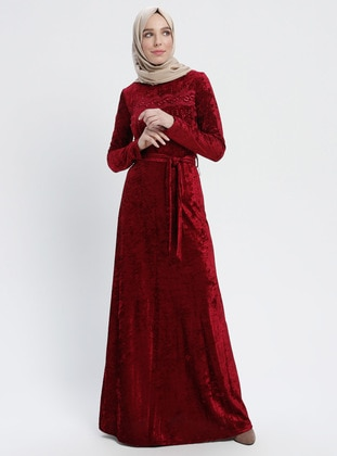 Maroon - Crew neck - Fully Lined - Unlined - Dresses