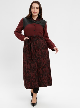 Terra Cotta - Multi - Fully Lined - Crew neck - Plus Size Coat