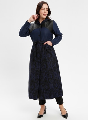 Saxe - Multi - Fully Lined - Crew neck - Plus Size Coat