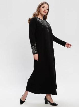 Black - Black - Unlined - Crew neck - Wool Blend - Plus Size Dress