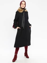 Black - Fully Lined - Crew neck - Coat