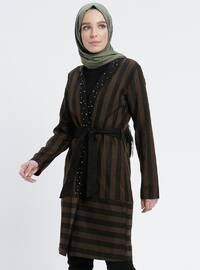 Khaki - Stripe - Unlined - V neck Collar - Topcoat