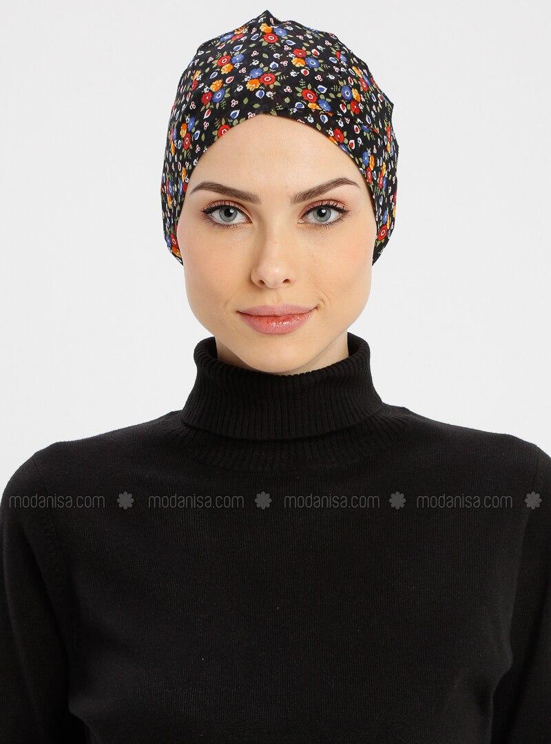 Black - Lace up - Simple - Cotton - Bonnet