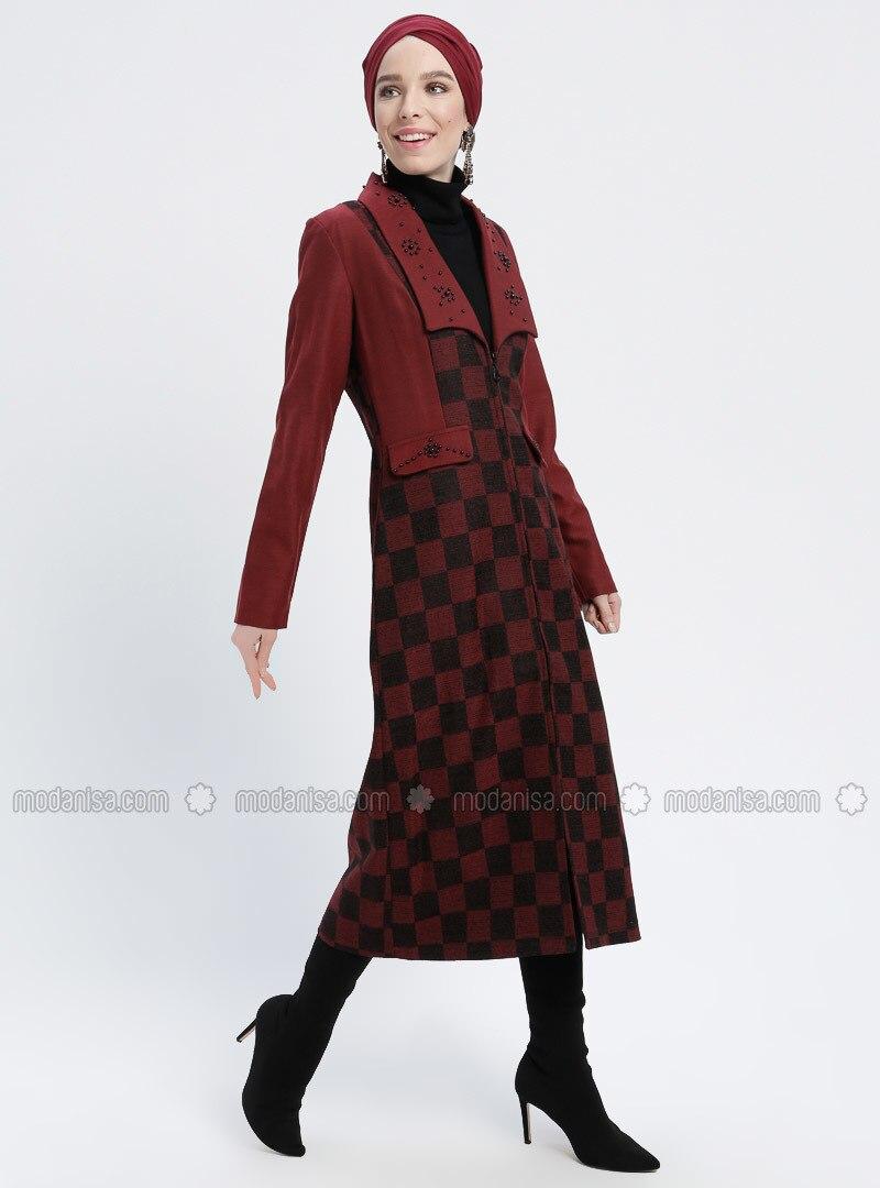 Terra Cotta - Multi - Unlined - Point Collar - V neck Collar - Topcoat