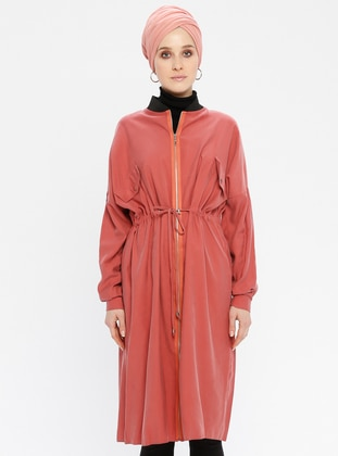 Dusty Rose - Unlined - Crew neck - Trench Coat