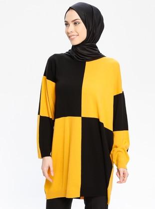 Black - Mustard - Crew neck - Acrylic -  - Jumper