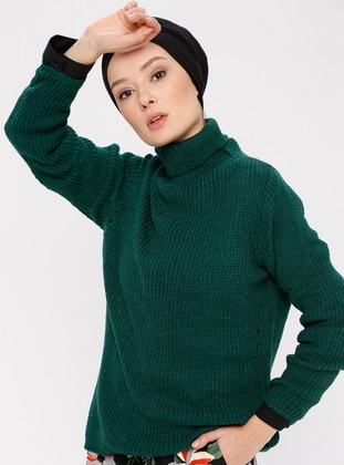 Green - Polo neck - Acrylic -  - Jumper