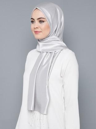 Gray - Plain - %100 Silk - Shawl