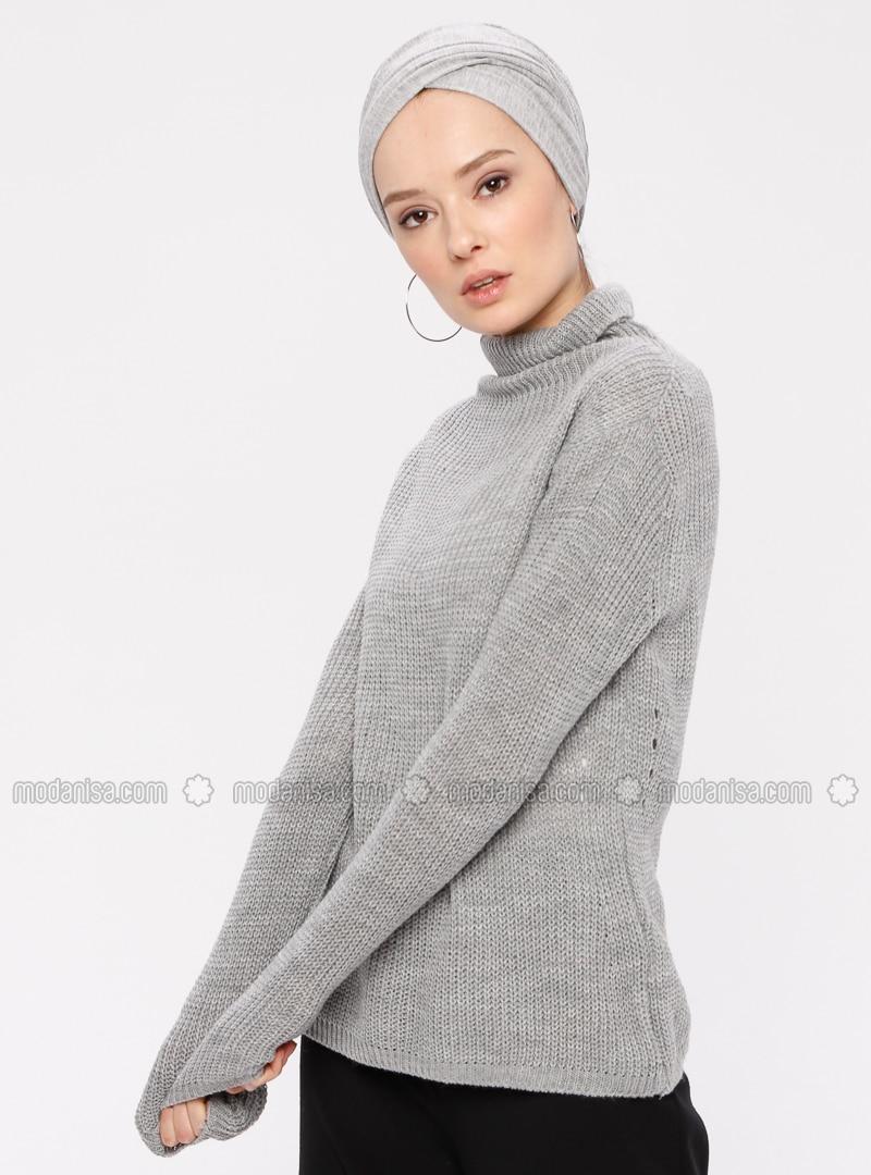 Gray - Polo neck - Acrylic -  - Jumper