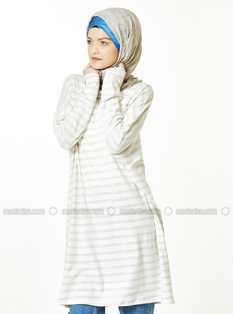 Cream - Stripe - Crew neck - Tunic