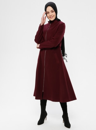 Purple - Fully Lined - Crew neck - Coat - Loreen By Puane