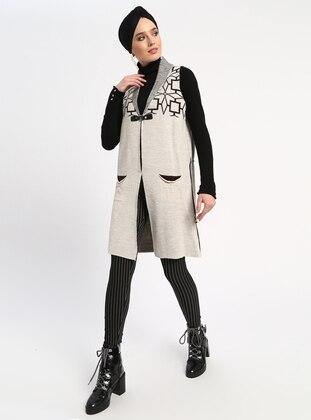 Beige - Multi - Unlined - Acrylic -  - Vest