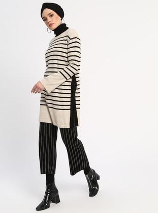 Beige - Stripe - Crew neck - Acrylic -  - Jumper