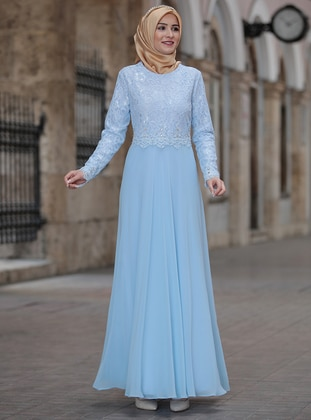 Baby Blue - Fully Lined - Crew neck - Muslim Plus Size Evening Dress