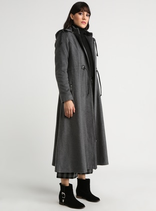 Gray - Fully Lined - Crew neck - Topcoat