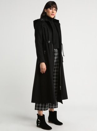 Black - Fully Lined - Crew neck - Topcoat