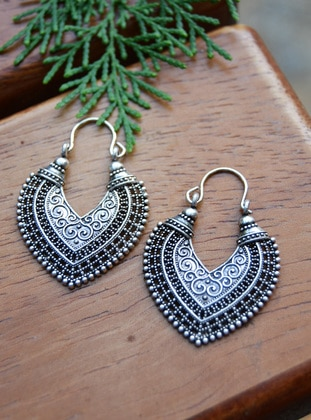 Silver tone - Earring - Stoneage