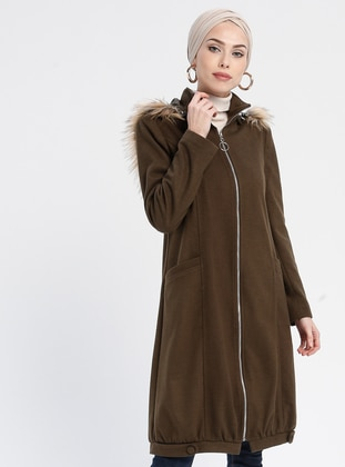 Khaki - Fully Lined - Polo neck - Coat - Loreen By Puane