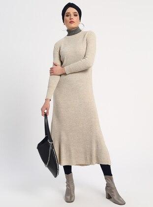 Beige - Crew neck - Unlined - Acrylic -  - Dresses