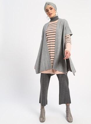 Gray - Unlined - Acrylic -  - Vest