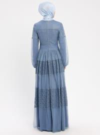 Blue - Navy Blue - Indigo - Crew neck - Fully Lined - Dresses