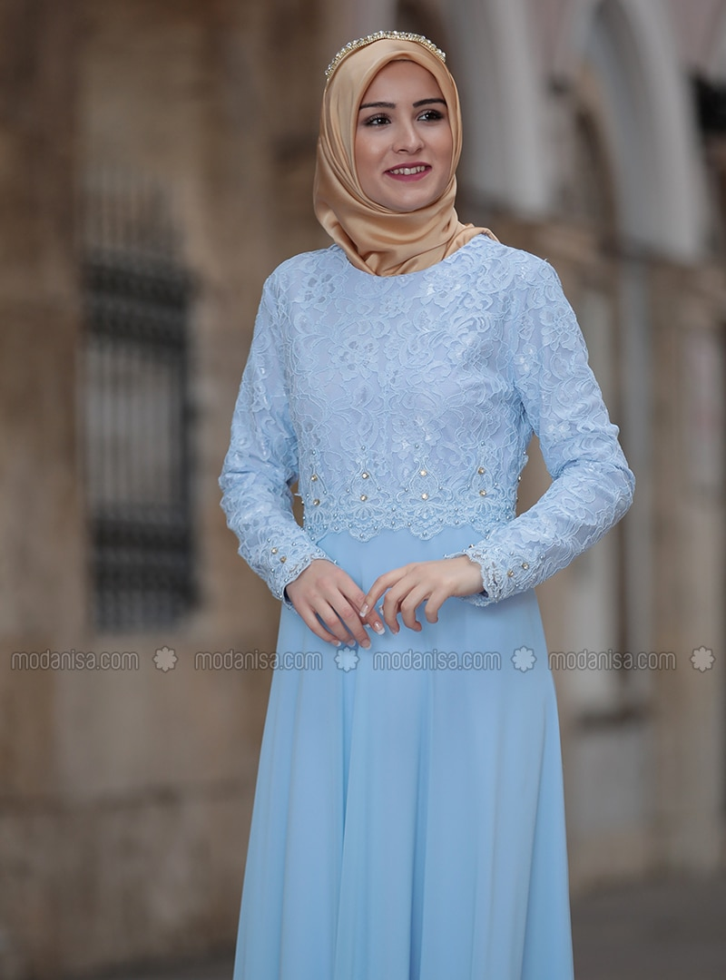 08abc64c15f Baby Blue - Fully Lined - Crew neck - Muslim Plus Size Evening Dress