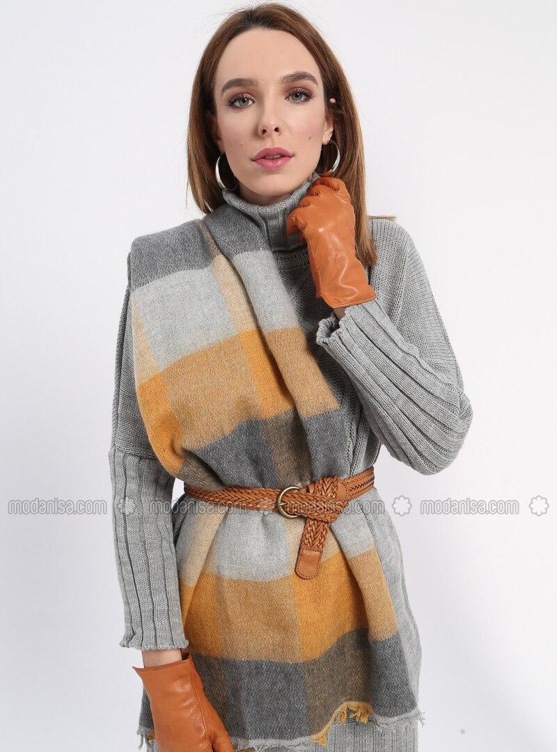 Acrylic - Gray - Mustard - Printed - Shawl Wrap