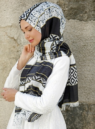 Black - White - Multi - Printed - Cotton - Shawl